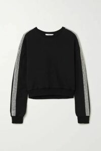 AREA - Cropped Crystal-embellished Cotton-jersey Sweater - Black
