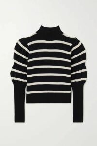 10 Crosby by Derek Lam - Elani Cropped Striped Merino Wool Sweater - Black