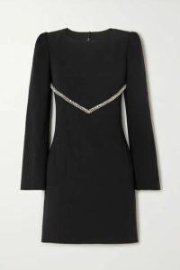 Haney - Audrey Crystal-embellished Crepe Mini Dress - Black