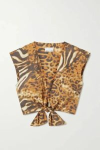 Miguelina - Marcy Cropped Tie-front Animal-print Cotton-poplin Top - Orange