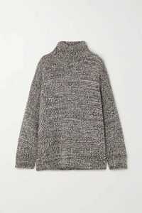 Co - Oversized Mélange Merino Wool Turtleneck Sweater - Light brown