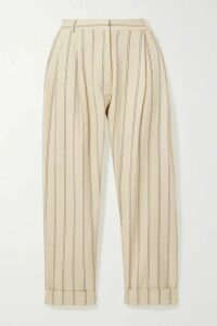 MATIN - Cropped Pleated Pinstriped Linen-blend Tapered Pants - Ecru