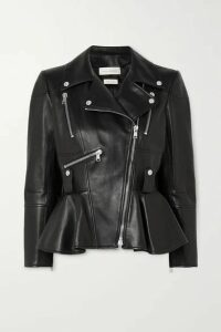 Alexander McQueen - Leather Peplum Biker Jacket - Black