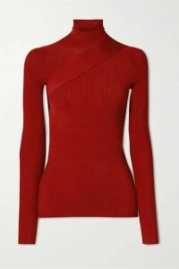 Peter Do - Seatbelt Ribbed-knit Turtleneck Top - Red