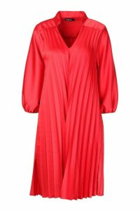 Womens V Neck Pleated Midi Dress - Red - 12, Red