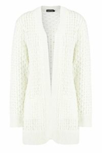 Womens Cable Cardigan With Pockets - white - M/L, White