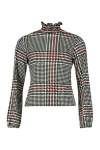 Womens Shirred Neck Blouse In Oversized Check - 12, Red