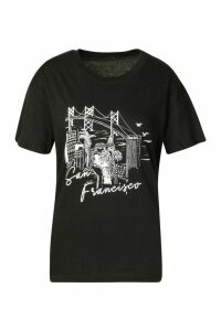 Womens San Francisco Graphic T-Shirt - black - XL, Black
