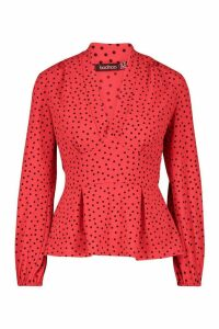 Womens V Neck Peplum Polka Dot Top - red - 8, Red
