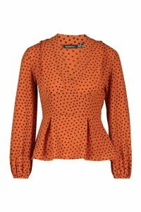 Womens V Neck Peplum Polka Dot Top - orange - 14, Orange
