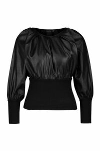 Womens Deep Waistband & Cuff Raglan Top - black - 12, Black