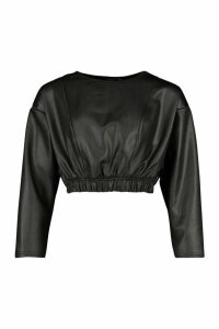 Womens Leather Look Batwing Top With Seam Detail - black - 8, Black