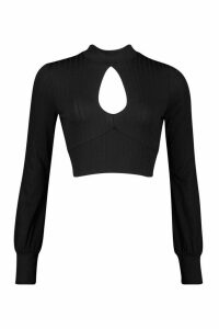 Womens roll/polo neck Tie Back Top With Keyhole Front - black - 14, Black