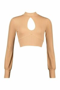 Womens roll/polo neck Tie Back Top With Keyhole Front - beige - 14, Beige