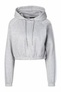 Womens Side Stripe Cropped Hoodie - grey - 6, Grey