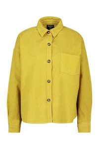 Womens Oversized Mock Horn Button Cord Shirt - yellow - 16, Yellow