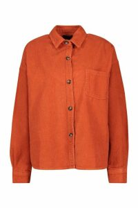 Womens Oversized Mock Horn Button Cord Shirt - Orange - 16, Orange