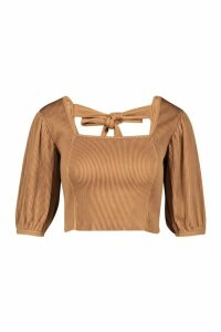 Womens Deep Ribbed Tie Back Volume Puff Sleeve Top - beige - 14, Beige