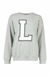 Womens L Initial Slogan Oversized Sweat - grey - M, Grey