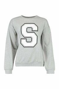 Womens S Initial Slogan Oversized Sweat - Grey - M, Grey