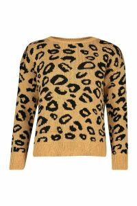 Womens Leopard Knitted Jumper - Multi - M/L, Multi