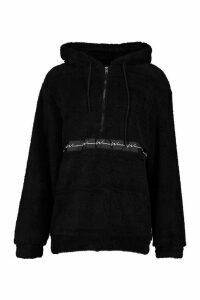 Womens Borg Woman Oversized Zip Hoodie - black - L, Black