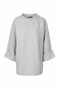 Womens Oversized Slouch Pocket Top In Jumbo Jersey - Grey - M, Grey