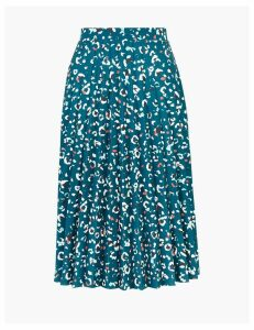 M&S Collection Jersey Floral Print Pleated Midi Skirt