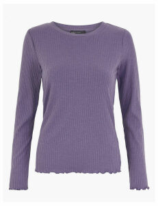 M&S Collection Jersey Ribbed Long Sleeve Top