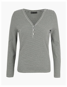 M&S Collection Striped Henley Fitted Long Sleeve Top