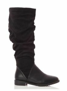 Womens *Quiz Black Suede Knee High Boots, Black