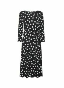 Womens **Billie & Blossom Tall Black And White Spot Midi Dress, Black