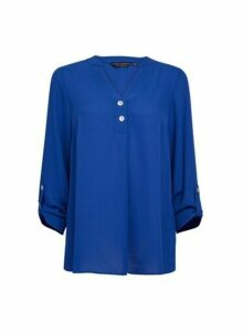 Womens Blue Long Sleeve Woven Blouse, Blue