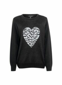 Womens Black Animal Heart Jumper, Black