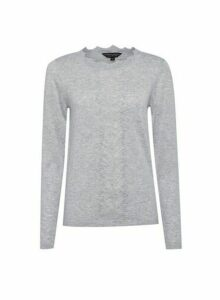 Womens Grey Soft Pointelle Jumper, Grey