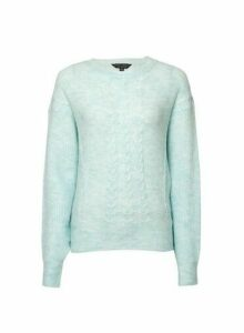Womens Mint Cable Batwing Jumper- Green, Green