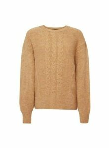 Womens Camel Cable Batwing Jumper- Brown, Brown