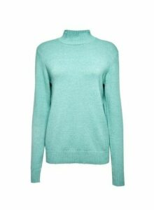 Womens **Vila Blue High Neck Knittd Jumper, Blue