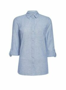 Womens Chambray Linen Shirt, Chambray