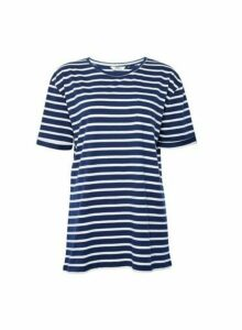 Womens **Tall Navy Stripe Print T-Shirt- Blue, Blue