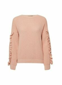 Womens Blush Ruffle Sleeve Jumper - Pink, Pink