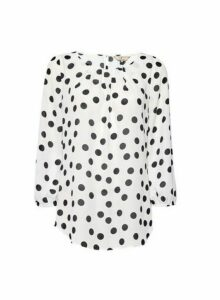 Womens Billie & Blossom Tall White Spot Print Long Sleeve Top, White