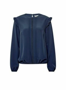 Womens **Billie & Blossom Navy Long Sleeve Top- Blue, Blue