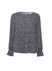Womens **Billie & Blossom Navy Heart Smock Top- Blue, Blue