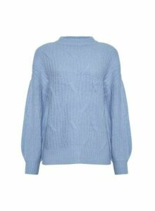 Womens Blue Diagonal Knitted Jumper, Blue
