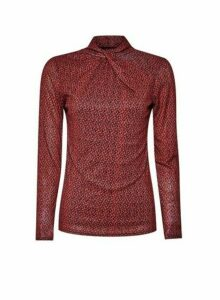 Womens Multi Colour Floral Mesh Twist Neck Top- Red, Red