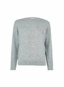 Womens Petite Grey Brushed Top, Grey