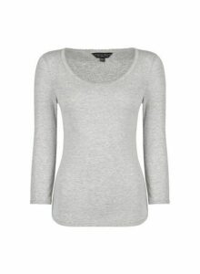 Womens Grey Pique 3/4 Sleeve T-Shirt, Grey