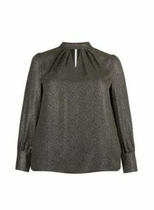 Womens Dp Curve Black Foil Pleat Neck Top, Black