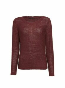 Womens **Only Wine Fine Guage Jumper- Red, Red